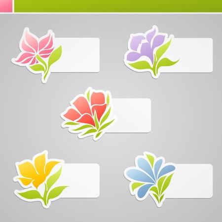 Set van veelkleurige bloemen met tags voor bericht. Vector illustratie.