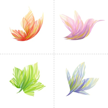 wings logos: Collection of colorful design elements: butterfly, hummingbird, leaf, flower. Vector illustration. Illustration