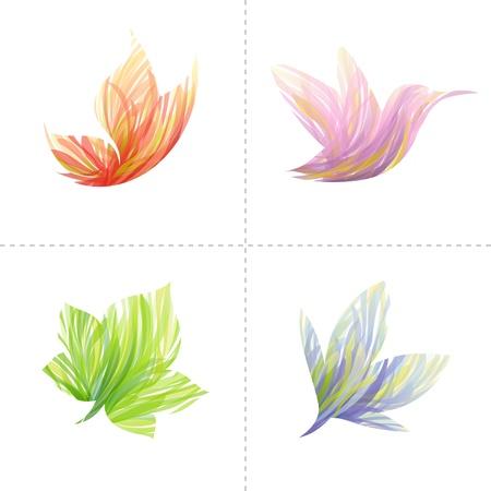 hummingbird: Collection of colorful design elements: butterfly, hummingbird, leaf, flower. Vector illustration. Illustration