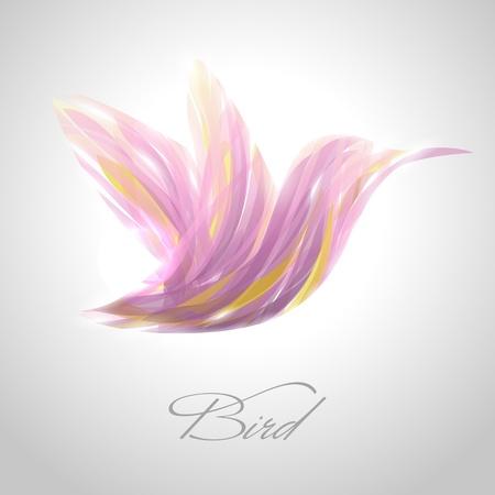 Shiny lavender striped hummingbird.  Illustration