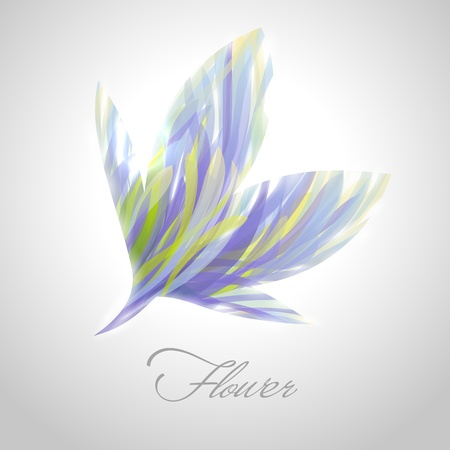 Shiny striped blue flower.  Vector