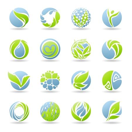 Gouttes et les feuilles. modèle de logo défini. Éléments pour la conception.