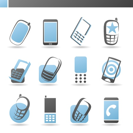Mobile phones. Collection of design elements. logo template set. Icons set.