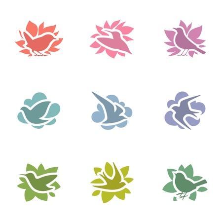 pigeons: Collecte de l'ensemble mod�le multicolore birds.logo. �l�ments pour la conception. Illustration