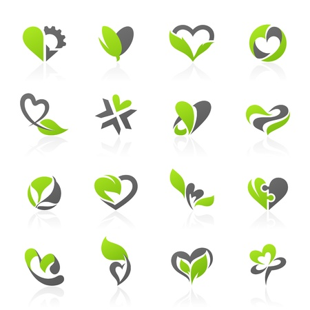 Eco-themed design elements in shape of heart. Vector logo template set. Illustration