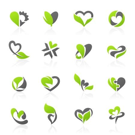 Yếu tố thiết kế sinh thái theo chủ đề trong hình dạng của trái tim. Vector biểu tượng mẫu thiết lập.