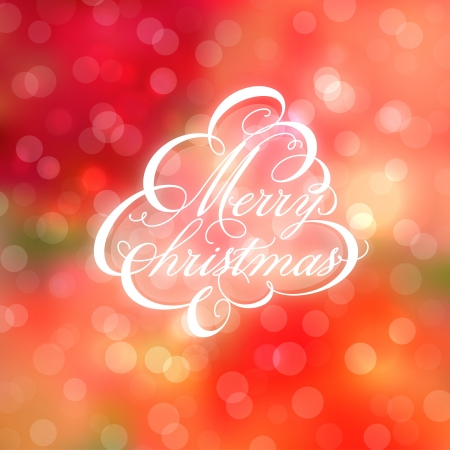 Calligraphic Christmas tree on bokeh background Vector