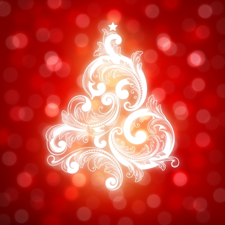 Swirly Christmas tree on red bokeh background Stock Vector - 15690013