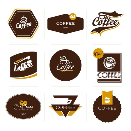 Collection of retro styled coffee labels Vector