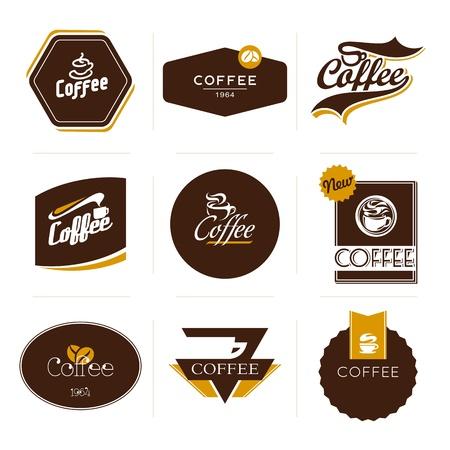 caf�: Raccolta di caff� in stile retr� etichette