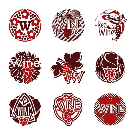 Set of wine labels and badges Vector