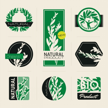 Nature-themed labels, banners and badges with green leaves  Vector design elements