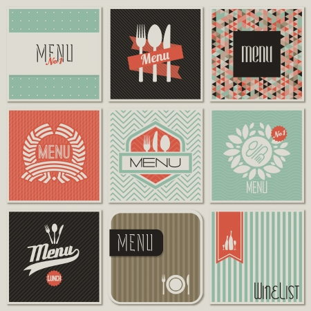 dinner food: Restaurant menu designs. Retro-styled illustration.
