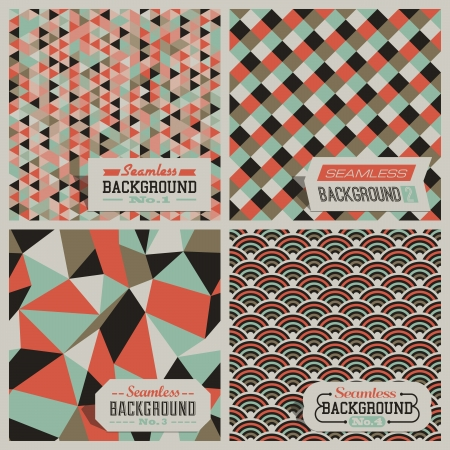 cubism: Set of retro-styled seamless patterns  Vector illustration
