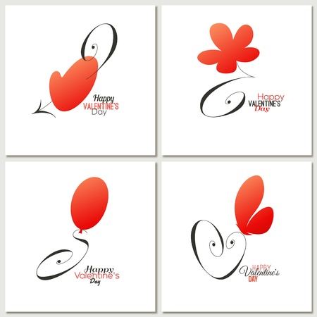 Stylish calligraphic Valentine day greeting cards Stock Vector - 17263219