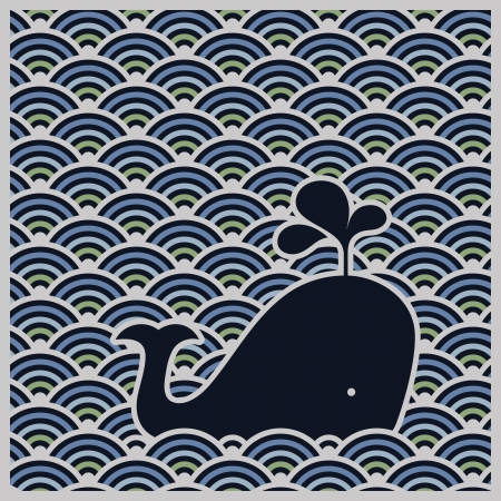 Seamless wavy pattern with blue whale. Vector