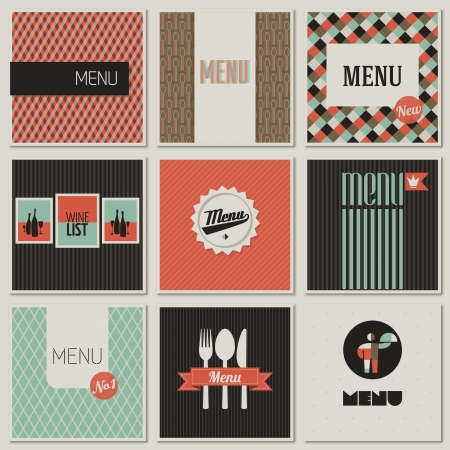 Menu label on a seamless background. Set of retro-styled illustrations. Vector