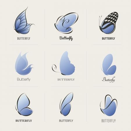 Butterfly. Bộ sưu tập của các yếu tố thiết kế.