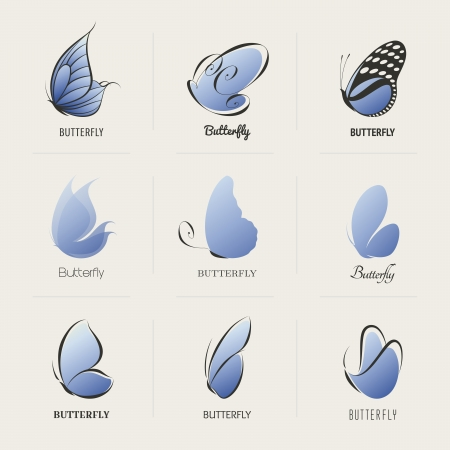 Butterfly. Collection of design elements. Vector