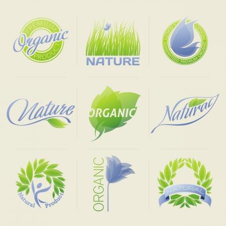 merken: Natuur etiketten, insignes, symbolen met bladeren, bloemen en vlinders.