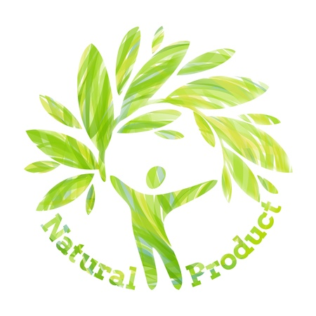 Human figure holding foliage branch. Natural product design concept. Illustration