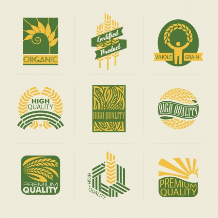 Nhãn lúa mì và phù hiệu. Tập hợp các mẫu logo. Các yếu tố thiết kế. Hình minh hoạ
