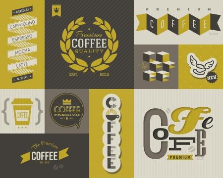 produits c�r�aliers: Caf� �tiquettes et badges. Collecte des �l�ments de dessin vectoriel.