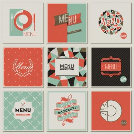 identidad: Diseños de menú en restaurantes. Colección de ilustraciones vectoriales de estilo retro.