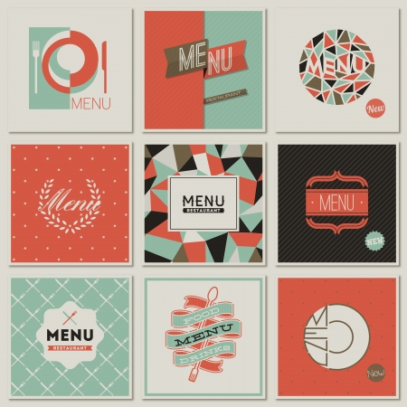 Restaurant menu designs  Collection of retro-styled vector illustrations  Vector