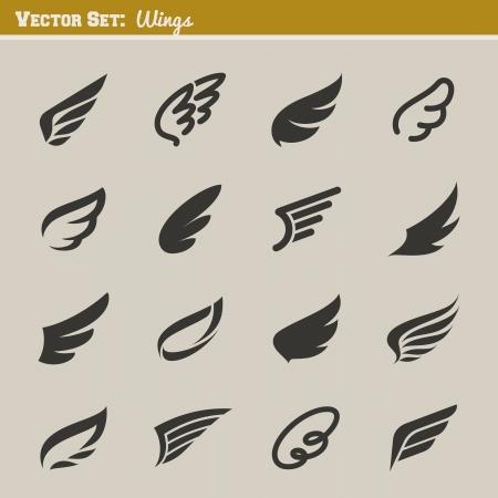 Wings Đặt thiết kế các yếu tố minh họa Vector Hình minh hoạ