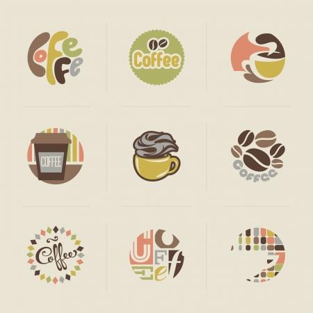 Biểu tượng cà phê retro Thiết lập các yếu tố thiết kế vector Hình minh hoạ