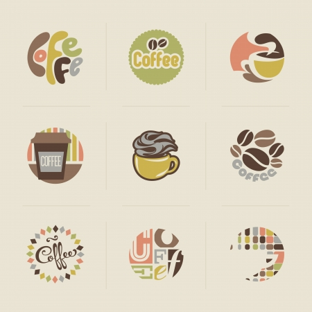 produits c�r�aliers: Embl�mes caf� r�tro Ensemble d'�l�ments de dessin vectoriel