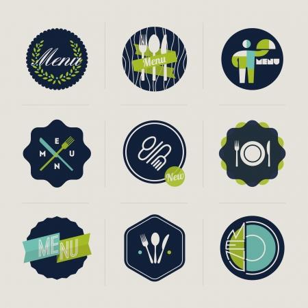 logos restaurantes: Etiquetas de men� en restaurantes Conjunto de elementos de dise�o vectorial