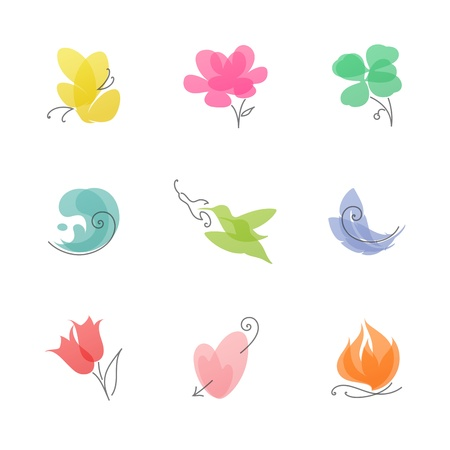Multicolored nature   Set of elegant vector design elements