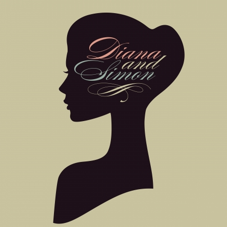 face silhouette: Beautiful female face silhouette in profile  Wedding vector design