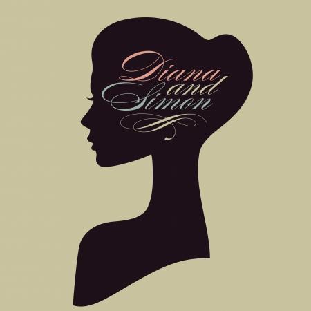 gesicht: Schöne weibliche Gesicht Silhouette im Profil Hochzeit Vektor-Design
