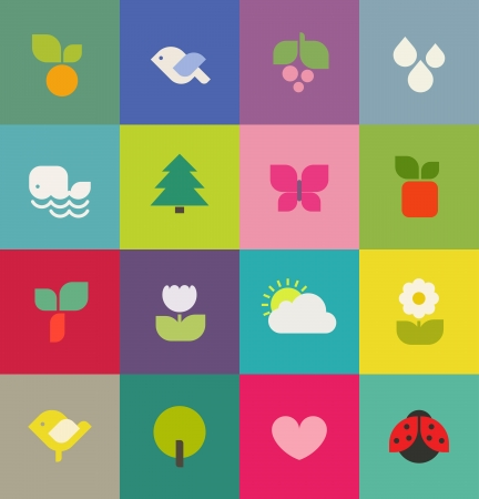 Colorful nature  Icons set  Vector illustration Illustration