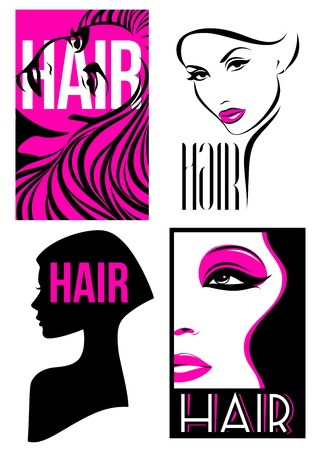 Womans hairstyle design  Set of vector illustrations Stock Vector - 18484192