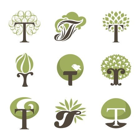 Tree. Collection of design elements.  Vector