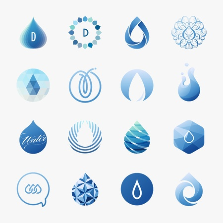 Drops  Vector logo templates set  Design elements Illustration