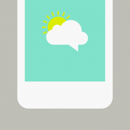 message vector: Phone screen with sunny message  Vector illustration