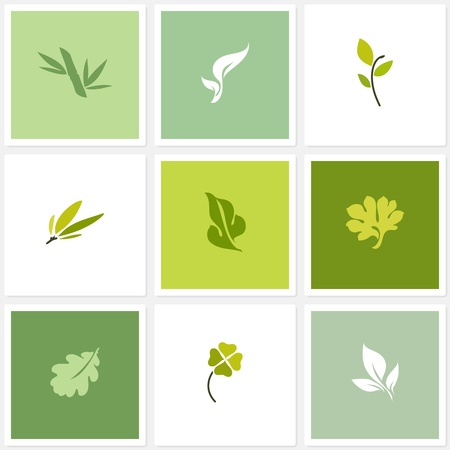 Leaf  Vector logo templates set  Design elements Stock Vector - 19264148