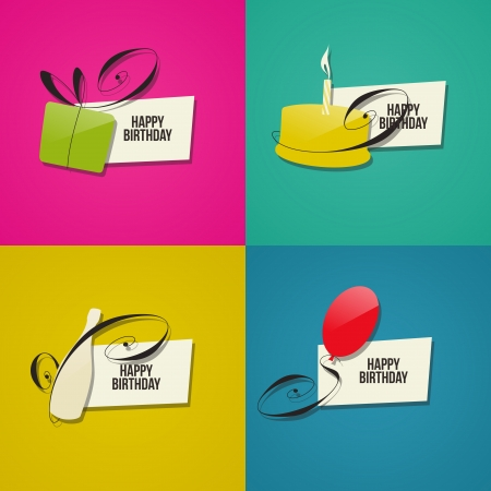 Happy Birthday greeting cards. Set of design elements Stock Vector - 19264147