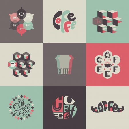 Coffee emblems and labels. Set of design elements Vector