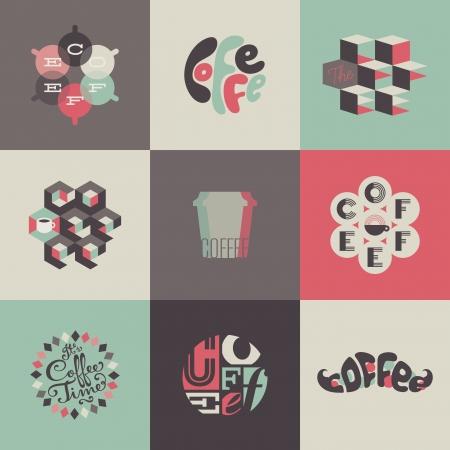logos restaurantes: Emblemas de caf� y etiquetas. Conjunto de elementos de dise�o Vectores