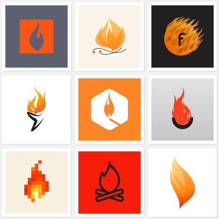 pixels: Flame. Set of design elements
