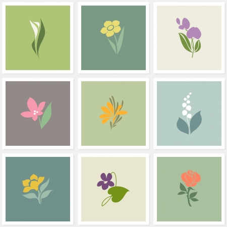 Flower. Vector logo templates set. Elements for design