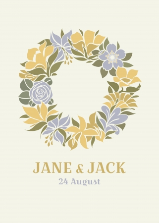 Wedding design with floral wreath Ilustrace