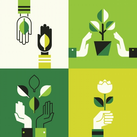 Caring hands holding leaves Illustration