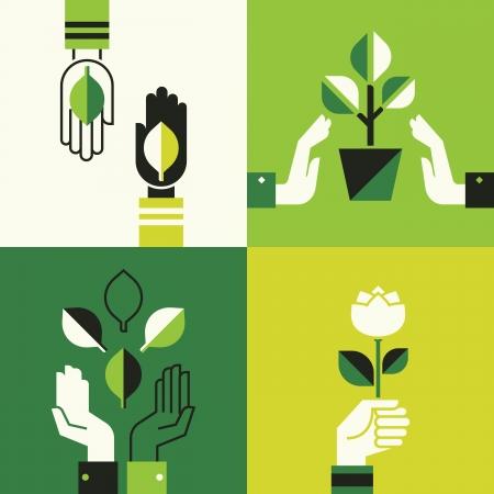 caring hands: Zorgzame handen die bladeren